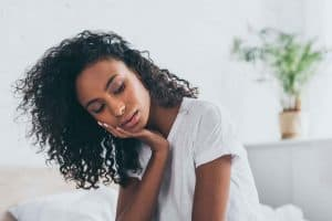 Lady suffering with fatigue